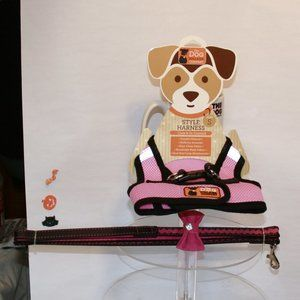 SMALL Pink Leash and Mesh Pet Harness Combo Pack